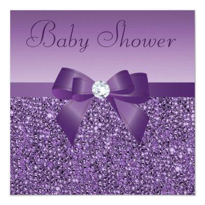 Purple Printed Sequins Bow & Diamond Baby Shower Invitation