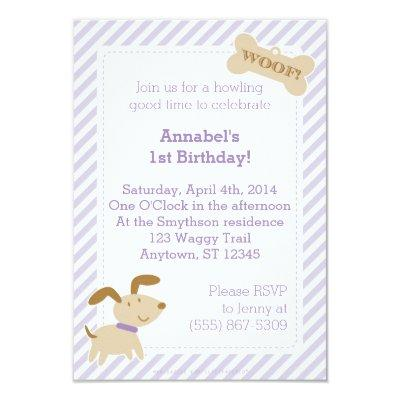 Purple Puppy Dog Invitations with Stripes and Dots
