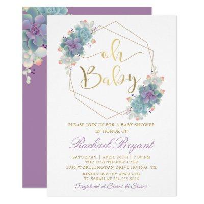 Purple Succulents Gold Geometric Baby Shower Invitation
