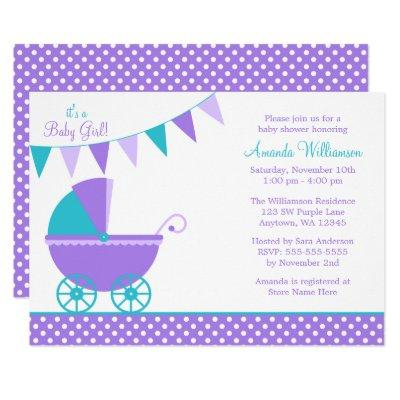 Purple Teal Bunting Carriage Girl Baby Shower Invitation