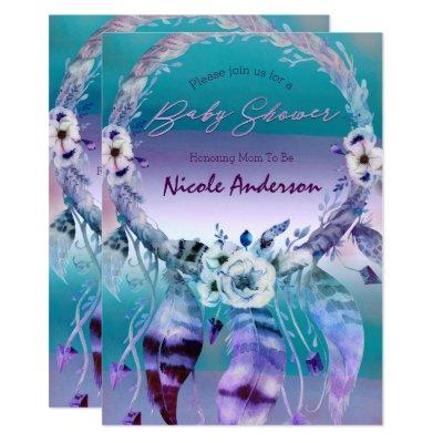 Purple & Teal Dream Catcher Boho Chic Baby Shower Invitations