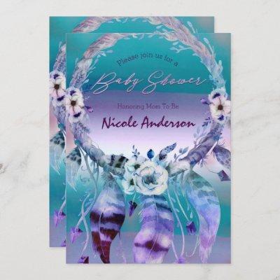 Purple & Teal Dream Catcher Boho Chic Baby Shower Invitation