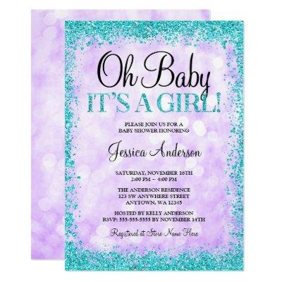 Purple Teal Faux Glitter Lights Girl Baby Shower Invitation