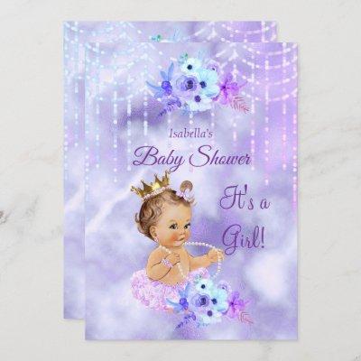 Purple Teal floral Girl Baby Shower Brunette Invitation