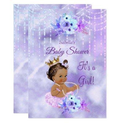 Purple Teal floral Girl Baby Shower dark Brunette Invitation