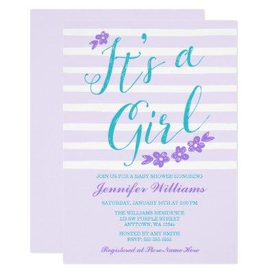 Purple Teal Flower Stripes Baby Shower Invitations