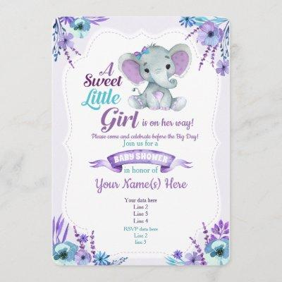 Purple Teal girl elephant invitation baby shower