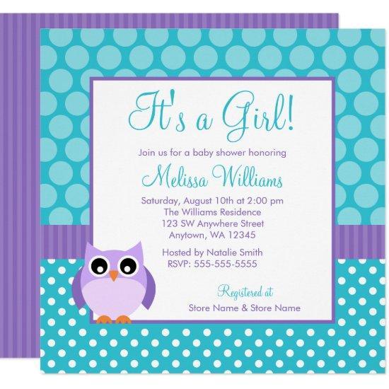 Purple Teal Owl Polka Dot Girl Baby Shower Card