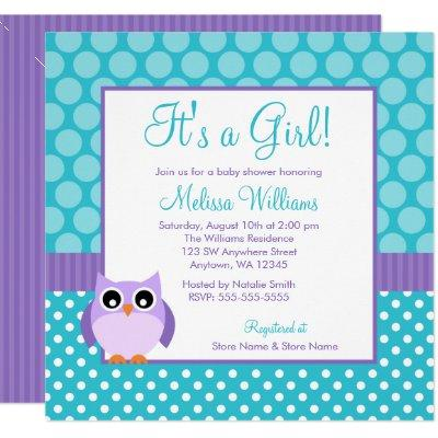 Purple Teal Owl Polka Dot Girl Baby Shower Invitation