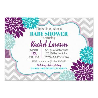 Purple & Turquoise Blooms Floral Baby Shower Invitation