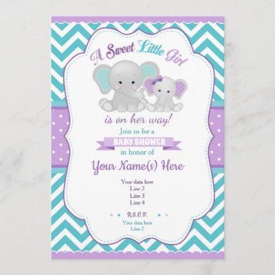 Purple Turquoise Elephant Baby Shower Invitation