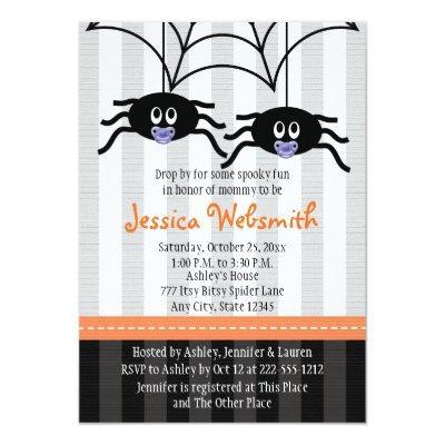 Purple Twins Spider Halloween Baby Shower Invites