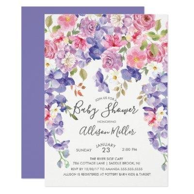 Purple Violet Floral Baby Shower Invitation