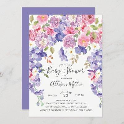 Purple Violet Floral Baby Shower Invitation