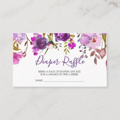 Purple Violet Flowers Baby Shower Diaper Raffle Enclosure Card