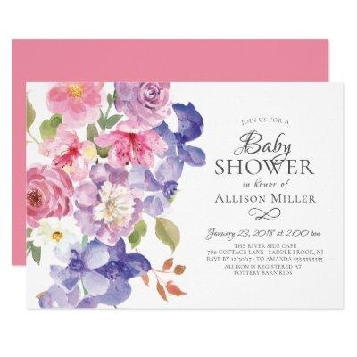 Purple Violets Floral BABY Shower Invitations
