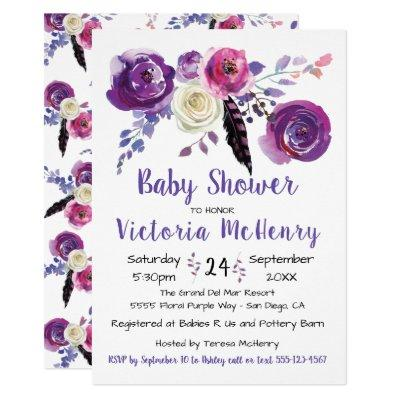 Purple watercolor Floral Boho BabyShower Invitation