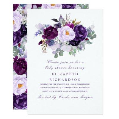 Purple Watercolor Flowers Romantic Baby Shower Invitation