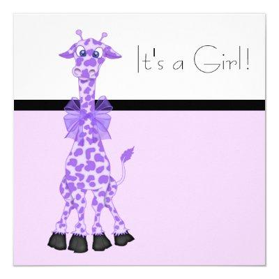 Purple Whimsy Giraffe Baby Girl Shower Invitations