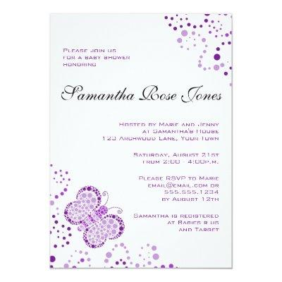 Purple & White Butterfly Elegant Invitations