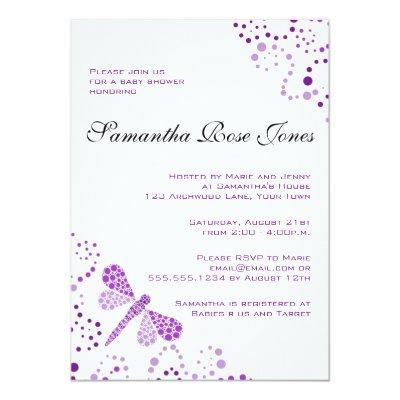 Purple & White Dragonfly Elegant Baby Shower Invitation