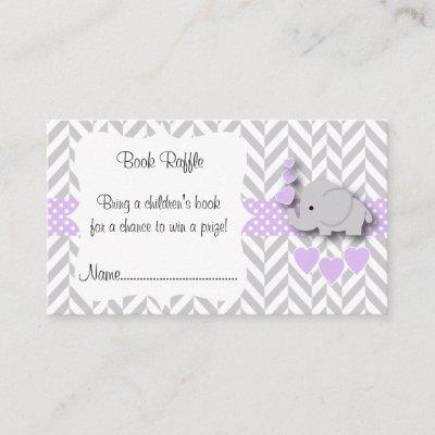 Purple White Gray Elephant Baby Shower Book Raffle Enclosure Card