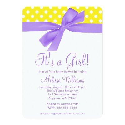 Purple Yellow Bow Polka Dot Baby Shower Invitations