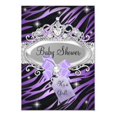Purple Zebra Print & Princess Tiara Invitations