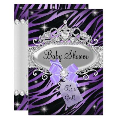Purple Zebra Print & Princess Tiara Baby Shower Invitations