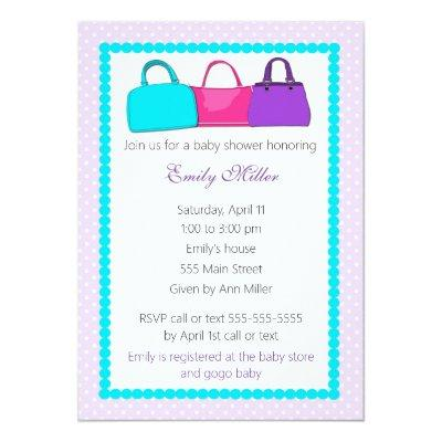 Purse Baby Girl Shower Invitation
