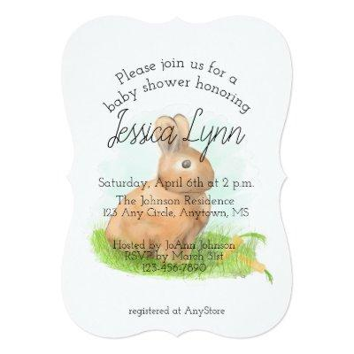 Rabbit Baby Shower Invitations