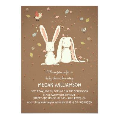 rabbit bunnies couple woodland Invitations