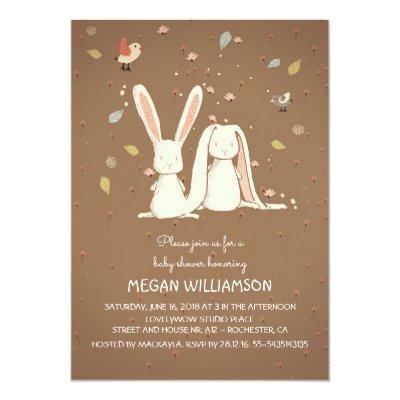 rabbit bunnies couple woodland Invitations