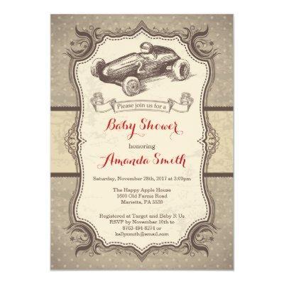 Race Car Baby Shower Invitation Vintage Retro