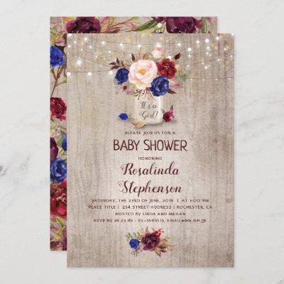 Radiant Floral Mason Jar Rustic Baby Shower Invitation