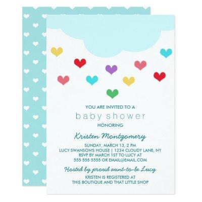 Rain Cloud & Hearts | Baby Shower Invitations