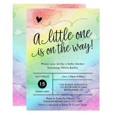 Rainbow Baby Shower, Gender Neutral Watercolor Invitations