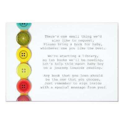Rainbow Button Baby Shower Insert Card