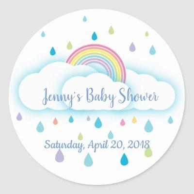 Rainbow Cloud Rainbow Baby Shower Save the Date Classic Round Sticker
