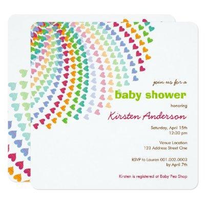 Rainbow Hearts Fun Sprinkles Whimsical Baby Shower Invitation