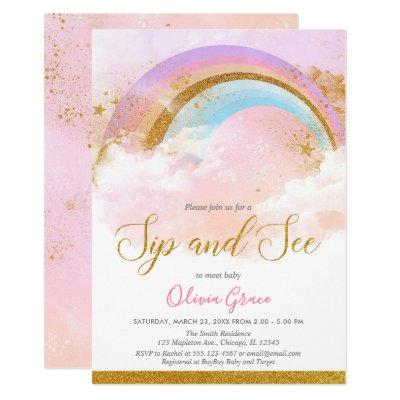 Rainbow sip and see girl pastel pink gold invitation