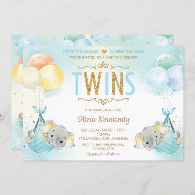 Rainbow Twin Boys Elephant Baby Shower Sprinkle Invitation