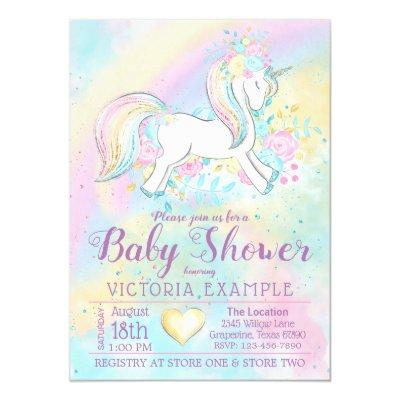 Rainbow Unicorn Baby Shower Invitations