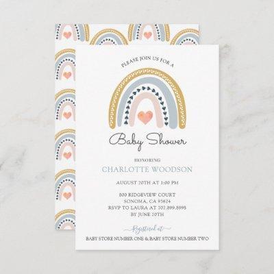 Rainbow Watercolor Boy Baby Shower Invitation