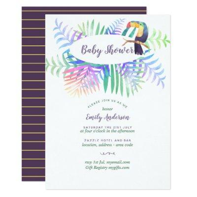 Rainforest Baby Shower Invites Tropical Violet