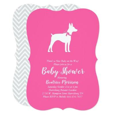 Rat Terrier Dog Baby Shower Pink Girl Invitation
