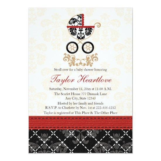 Red And Black Damask Baby Carriage Baby Shower Card Baby Shower