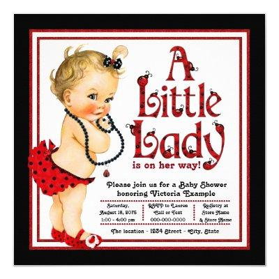 Red and Black Ladybug Baby Shower Invitation