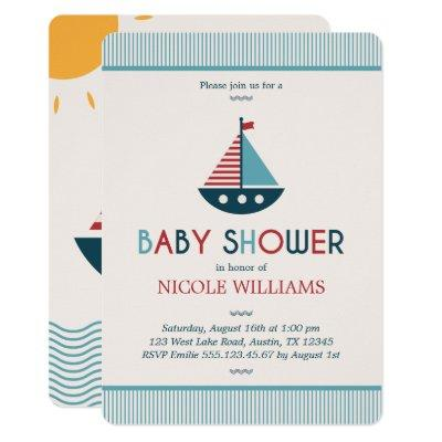 Red and Blue Nautical Baby Shower Invitation
