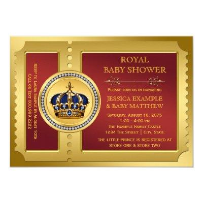 Red and Gold Boys Royal Baby Shower Invitations